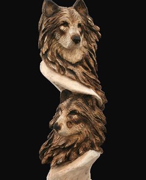 Wolf head carved in cottonwood bark by druid lumberjocks